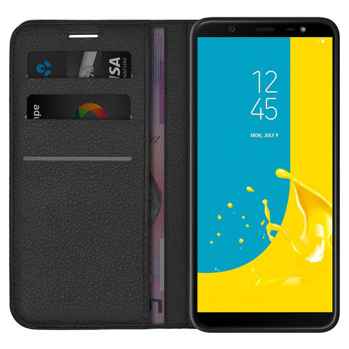Leather Wallet Case & Card Holder Pouch for Samsung Galaxy J8 - Black